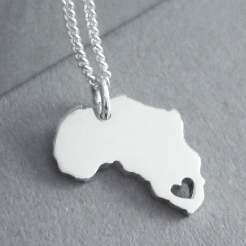 Sterling silver handmade Africa pendant with heart in South Africa