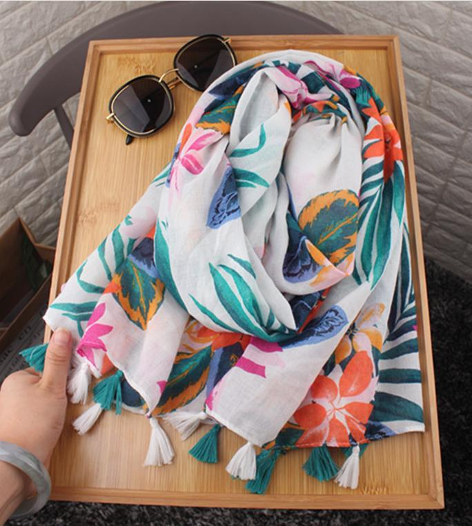beautiful bright floral print scarf