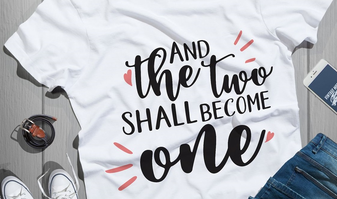 """Bridal Party Tshirts """"And the two shall become one"""""""