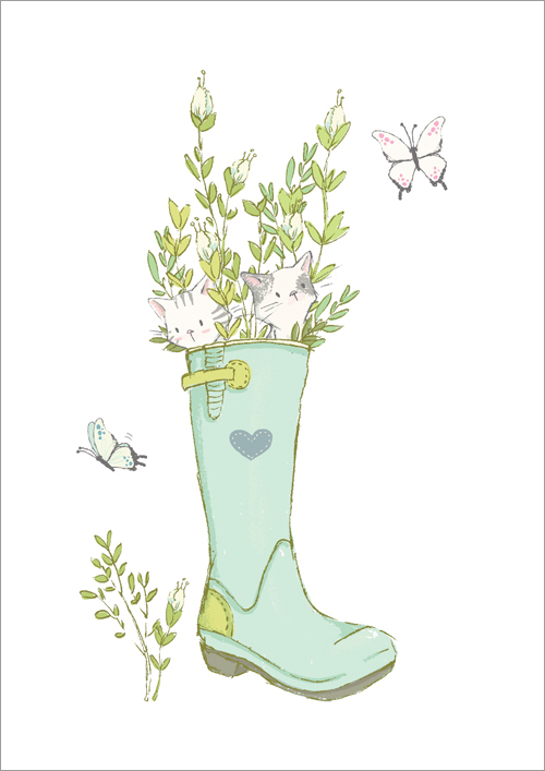 Children's print ~ Kittens & Boot