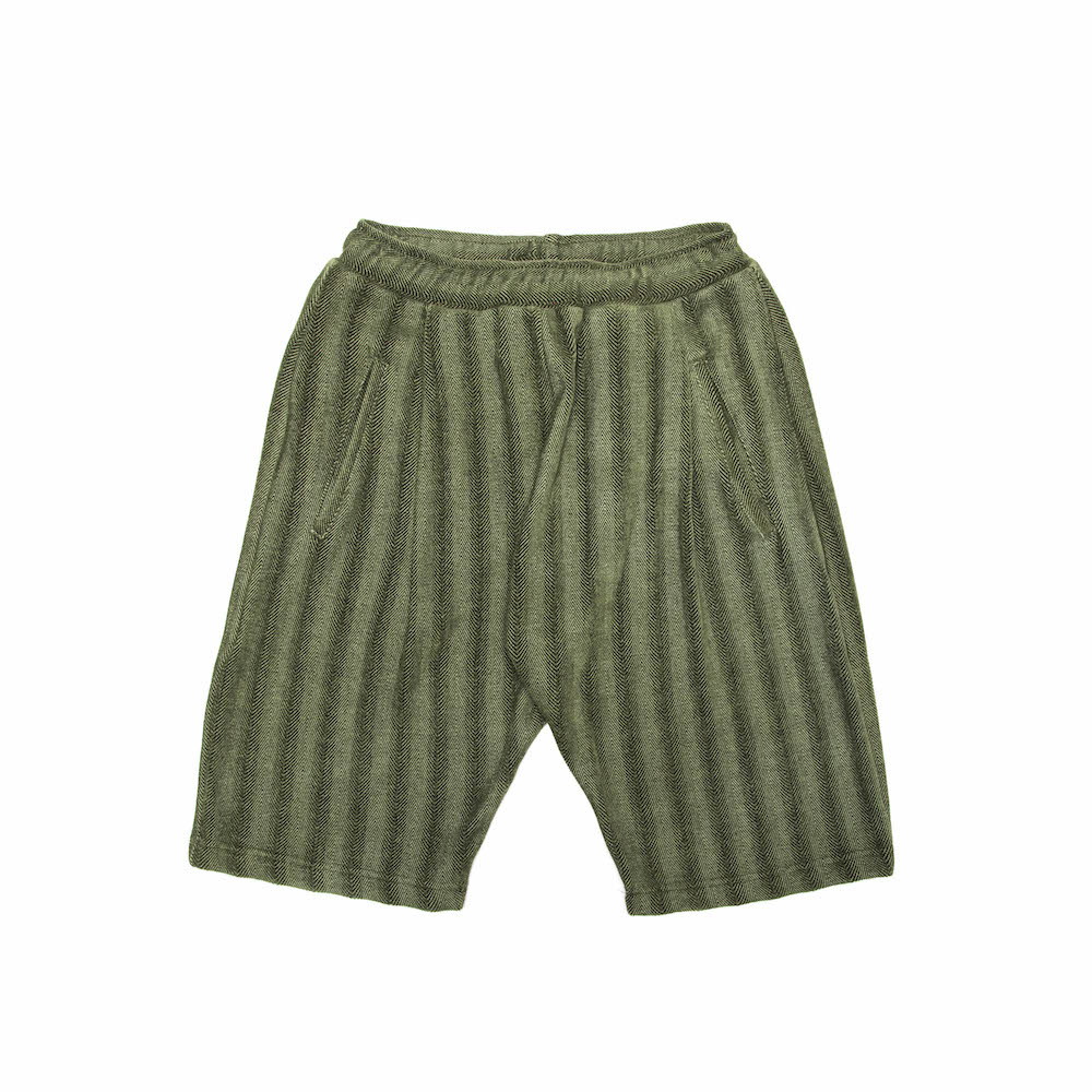 Dinner Shorts - Olive Herringbone