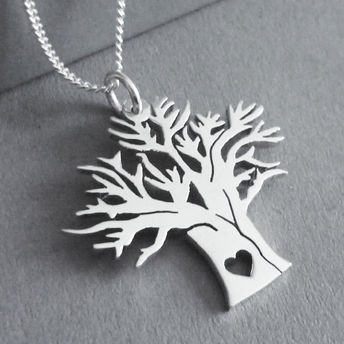 Sterling silver Baobab tree with heart pendant - with a choice of 45cm or 50cm chains, or no chain :)