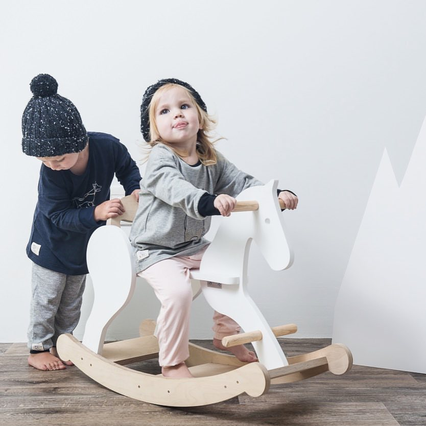 These gorgeous hand crafted rocking horses are made from Birch Ply Wood and are sprayed with a non toxic paint. 