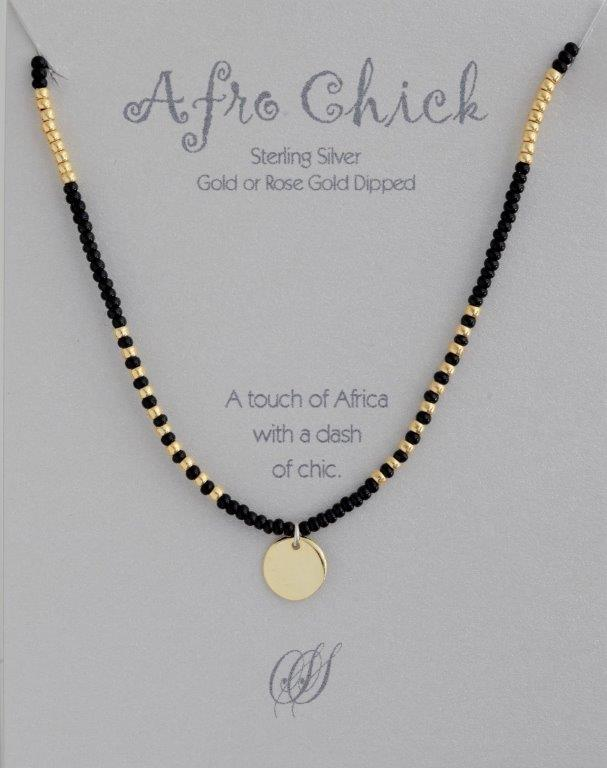 Afro Chick Necklace - Gold and black
