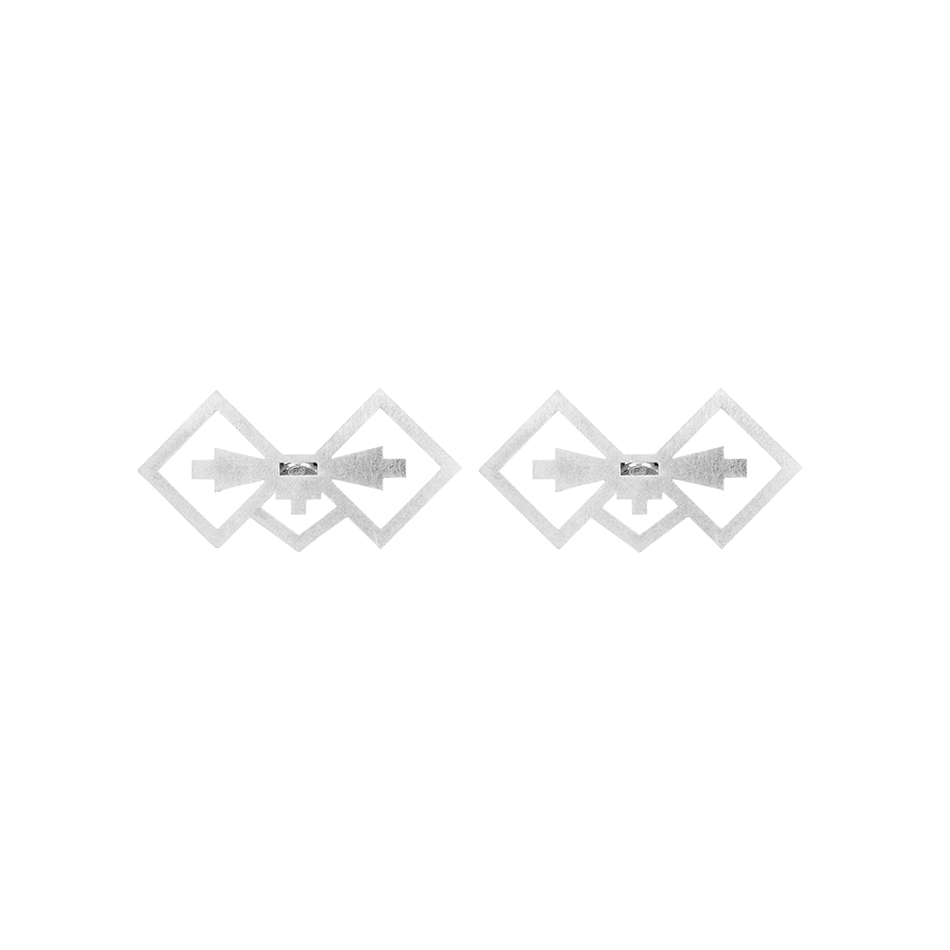 Silver Ndebele Baby Bow studs