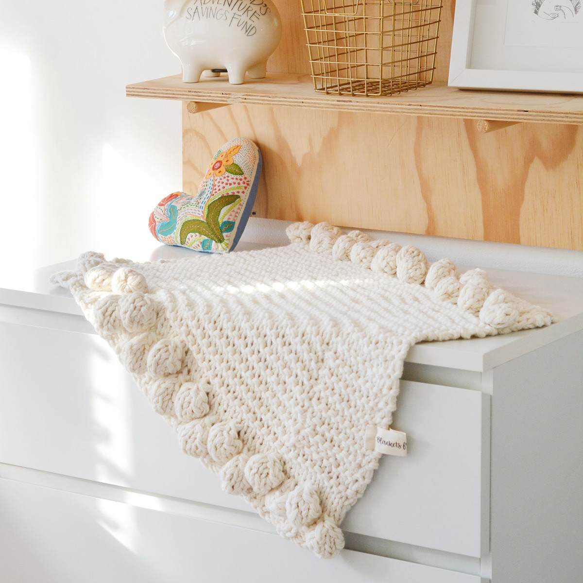 Handmade with 100% pure Merino Wool from the heart of the Karoo.  Dimensions: Pram & Car seat size 71 x 63 cm Cot size 87 x 81 cm