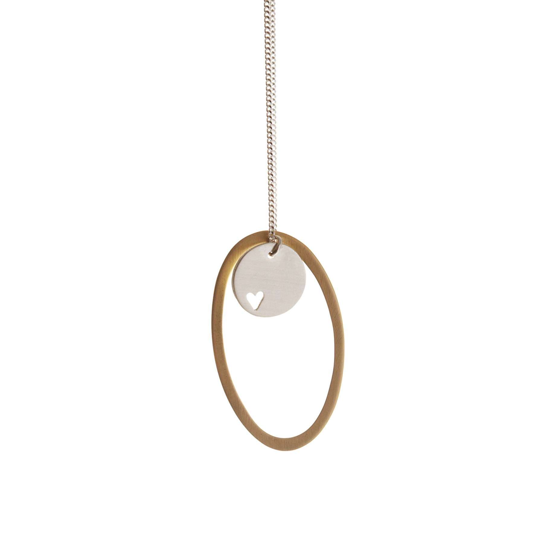 Brass loop with silver disc pendant