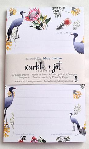 Precious Blue Crane Bloc Notepad