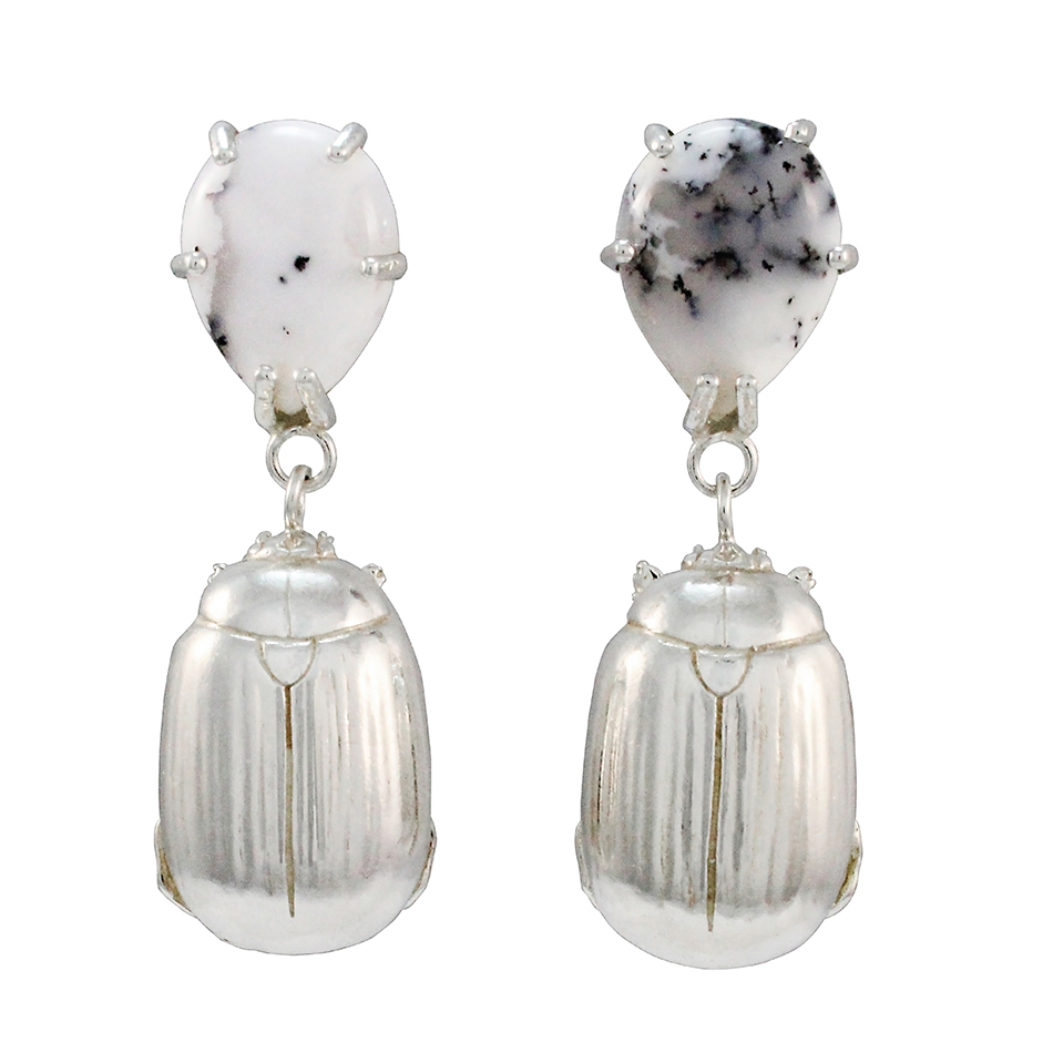 Sterling Silver with Pear Shaped White Agate