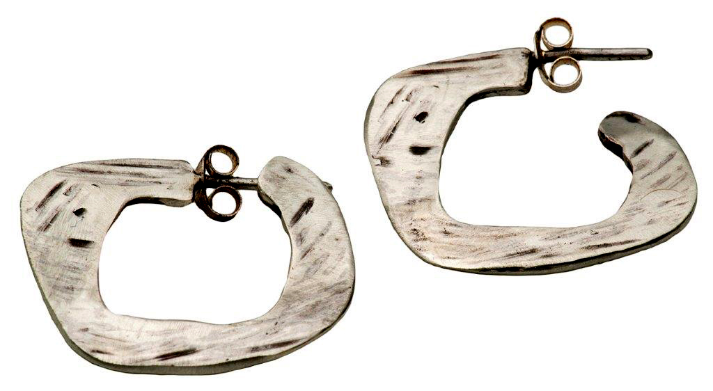 flat roughly finished earrings with studs and butterflies  5.7g sterling silver  polished / oxidised  280mm diametre
