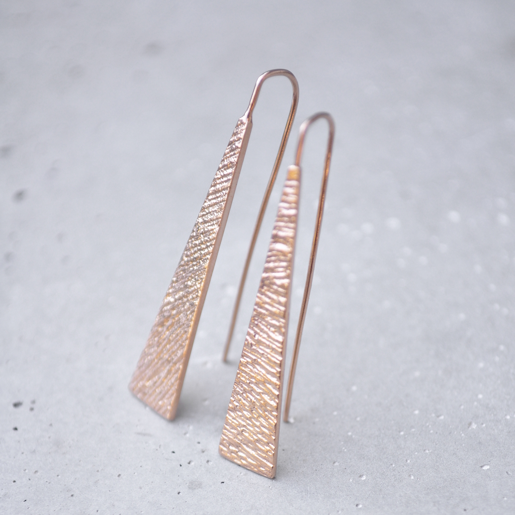 Our popular Stretched triangle Jennas are now available in Rose Gold Plated sterling silver.