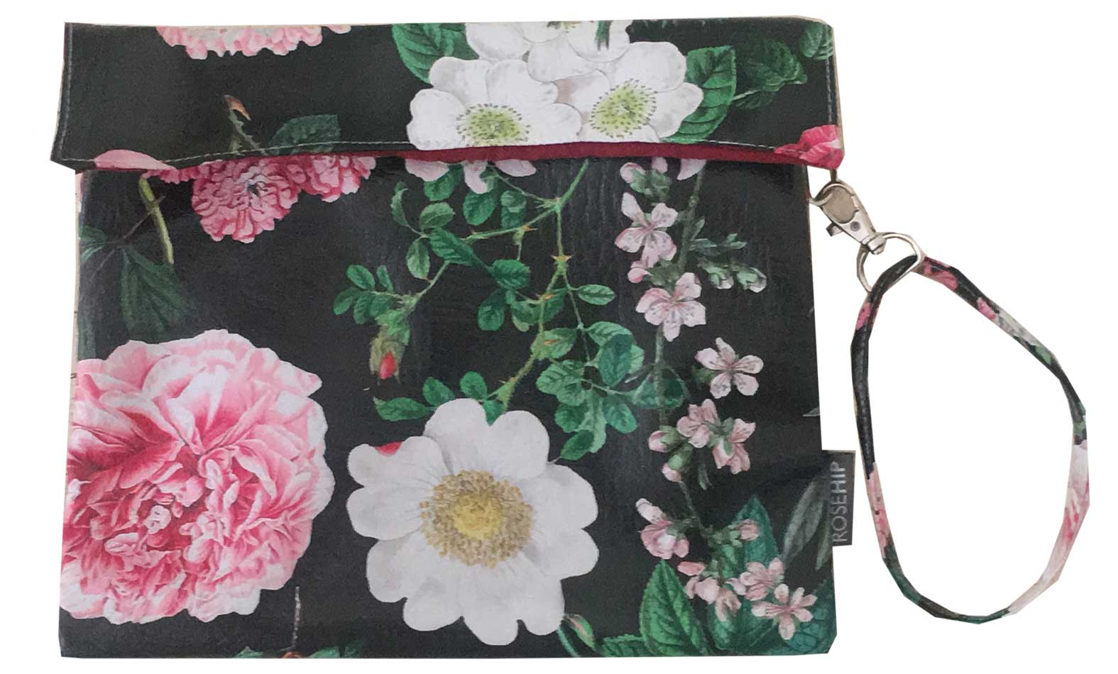 Peony Ebony design printed onto Vegan Leather. Can be used as Ipad bag or Clutch bag.