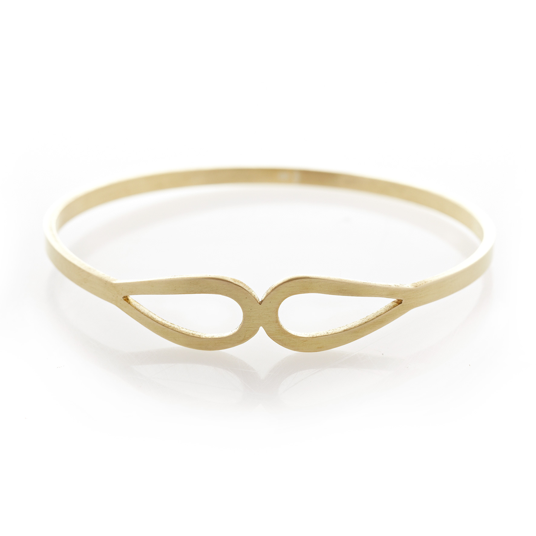 Two teardrop brass bangle
