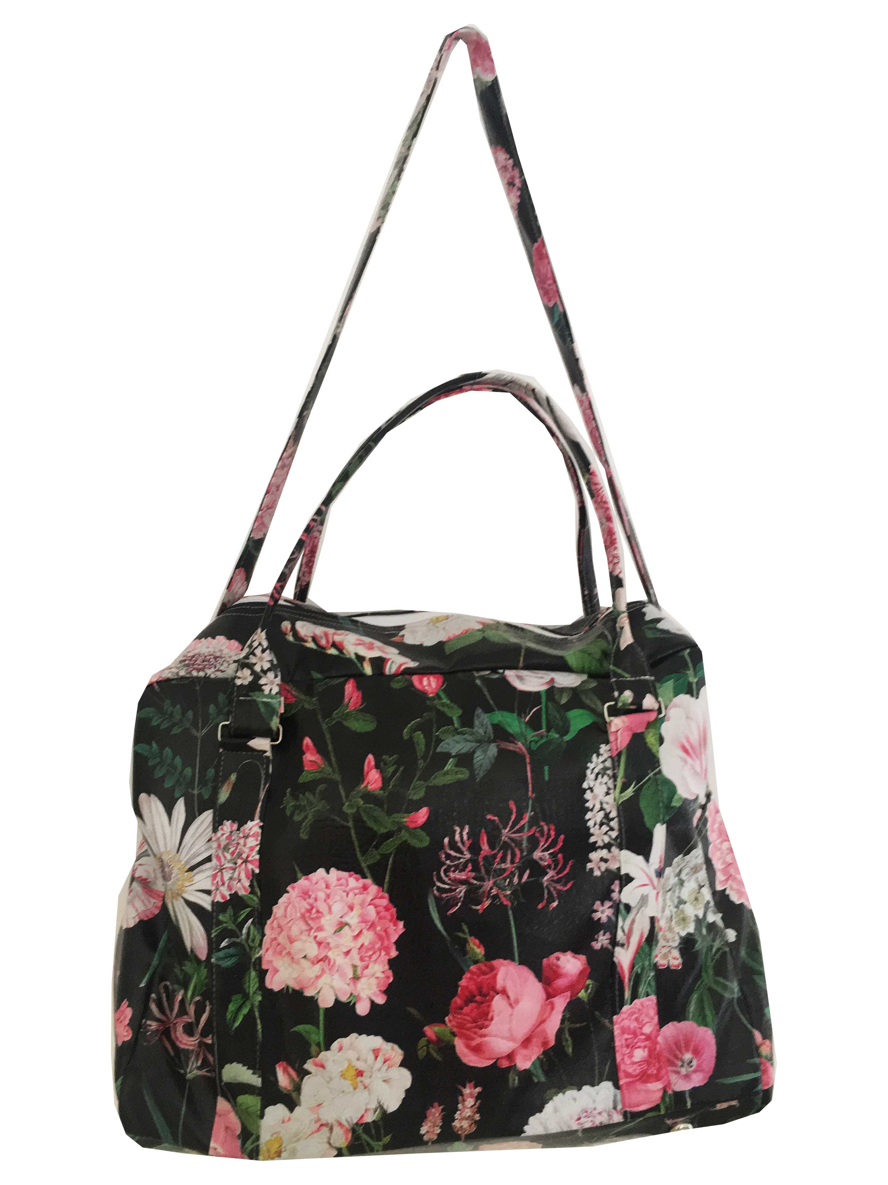 Beautiful and practical Peony Ebony design printed onto Vegan Leather