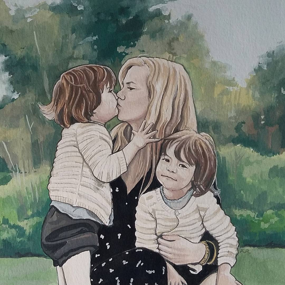 UNFRAMED Custom Mother and child / children Portrait - Hand Painted