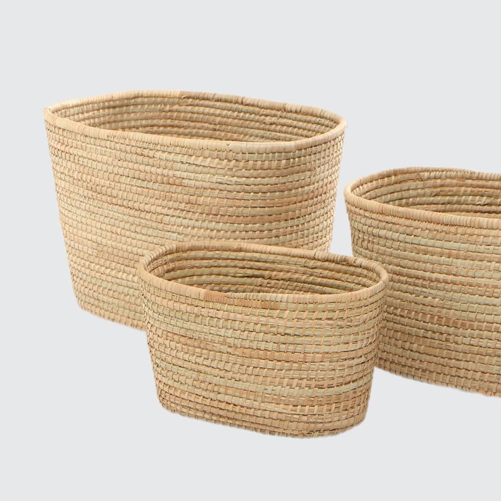 A strong, sturdy basket woven with Palm. Great for storing anything from magazines in the small size to firewood in the large size.