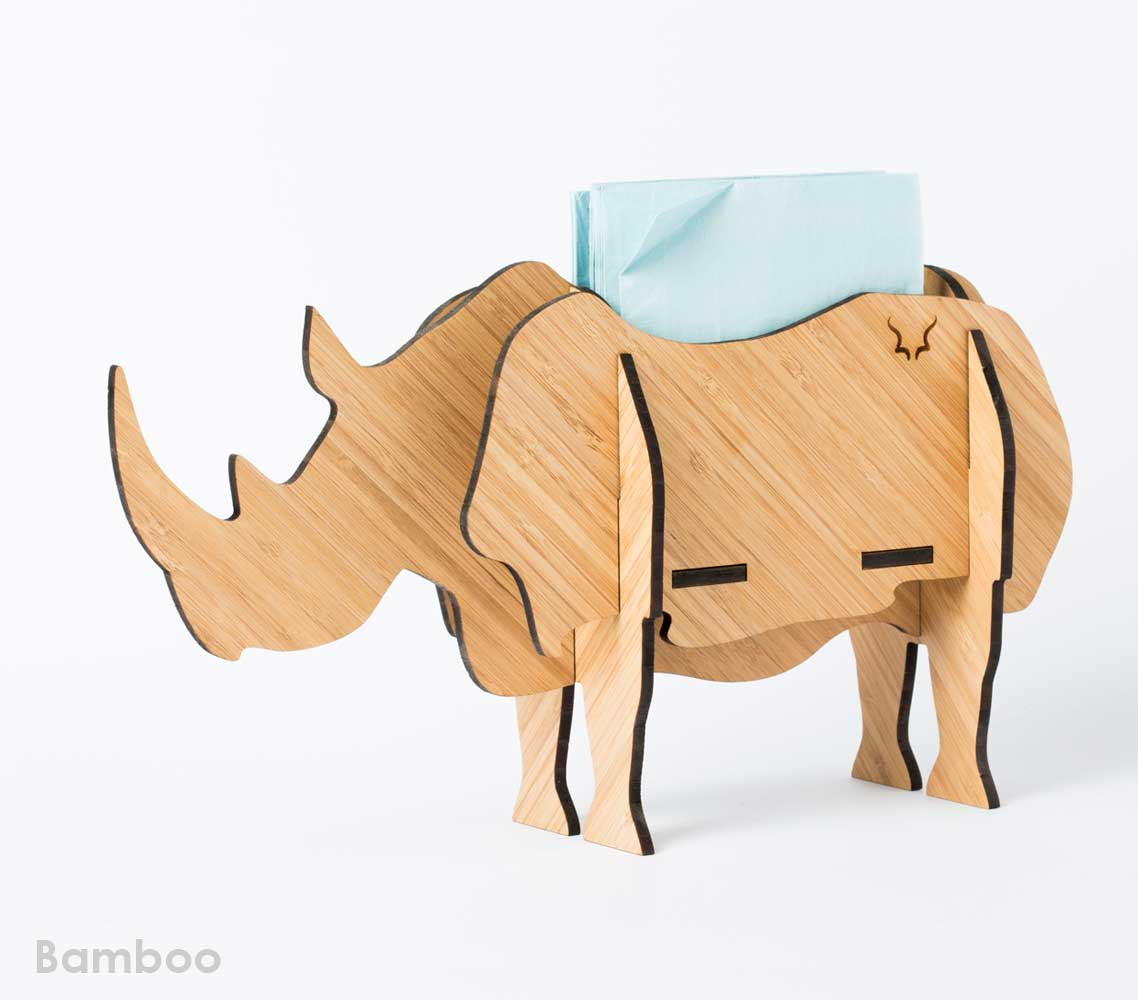 A 7-piece full-bodied Rhino standing sculpture available in Bamboo.