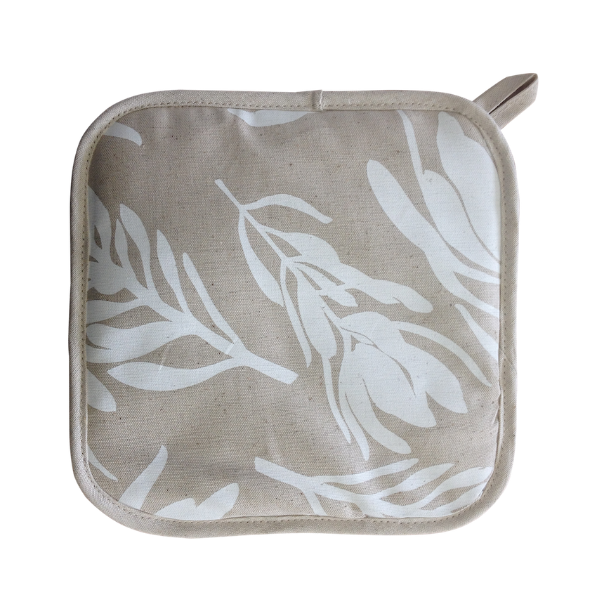 Pot Holder - Conebush (White on Natural)