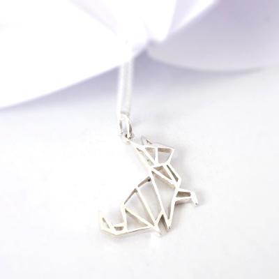 Origami Kitty Pendant on chain