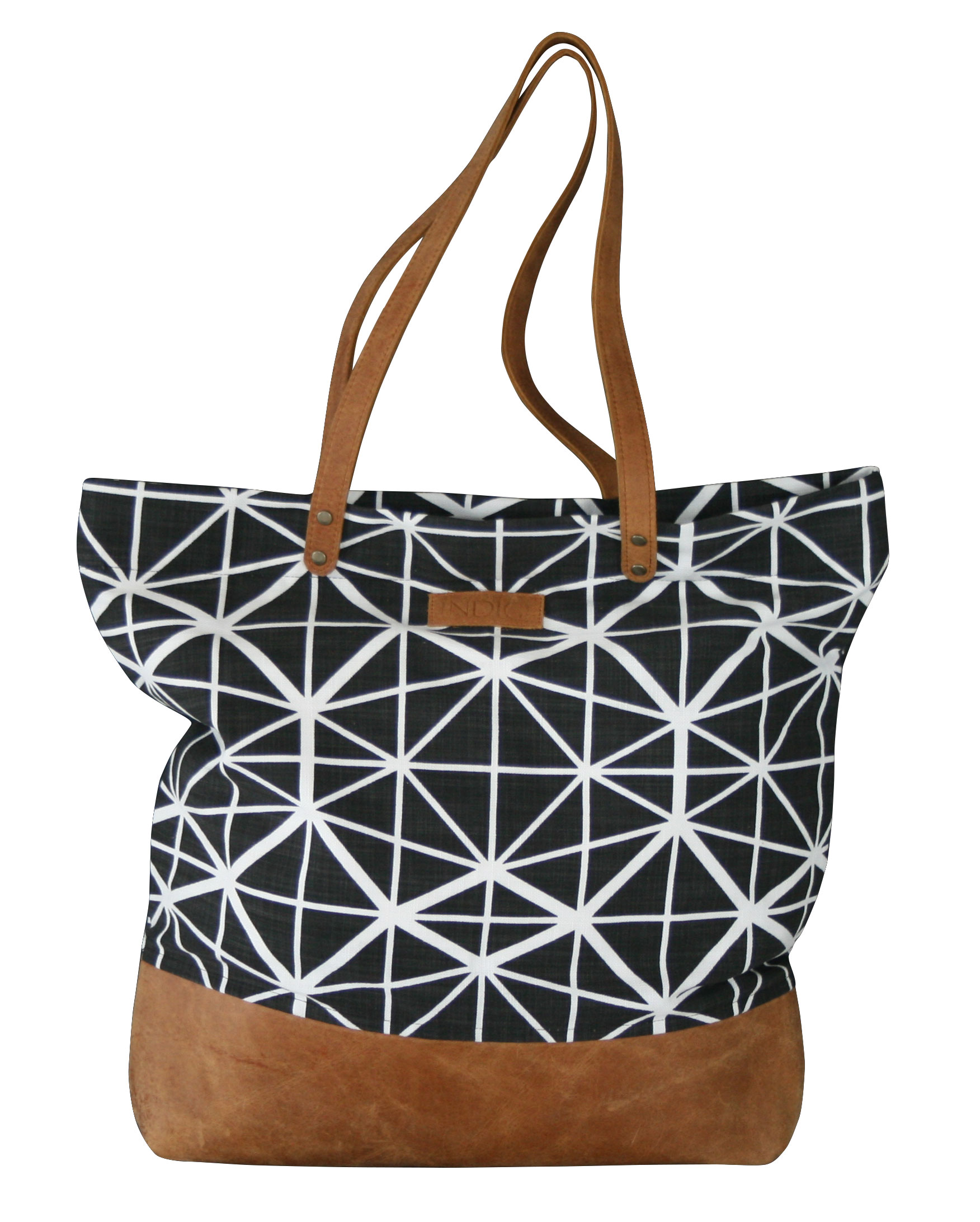 Shoulder Bag with Leather Base & Handles Facet (Black)