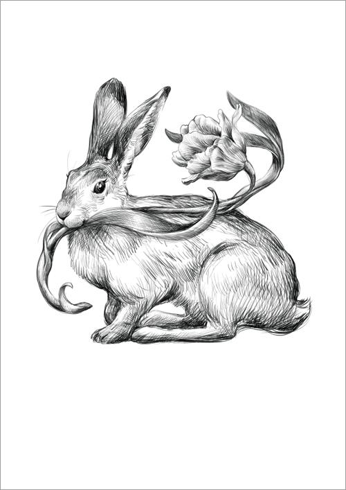 Children's print ~ Bunny & Tulip 1