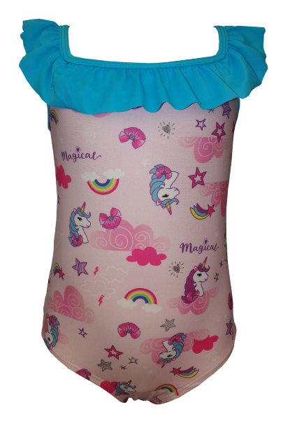 Gorgeous little unicorn one piece with blue frill detail around the neck