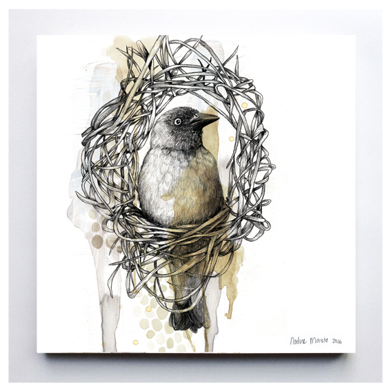 Artwork digitally printed onto 200 x 200mm wood (16mm Mdf Supawood)  The artwork have a hole at the back so that it can be mounted easily on the wall.