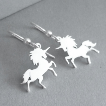 Prancing Unicorn Sterling Silver Earrings