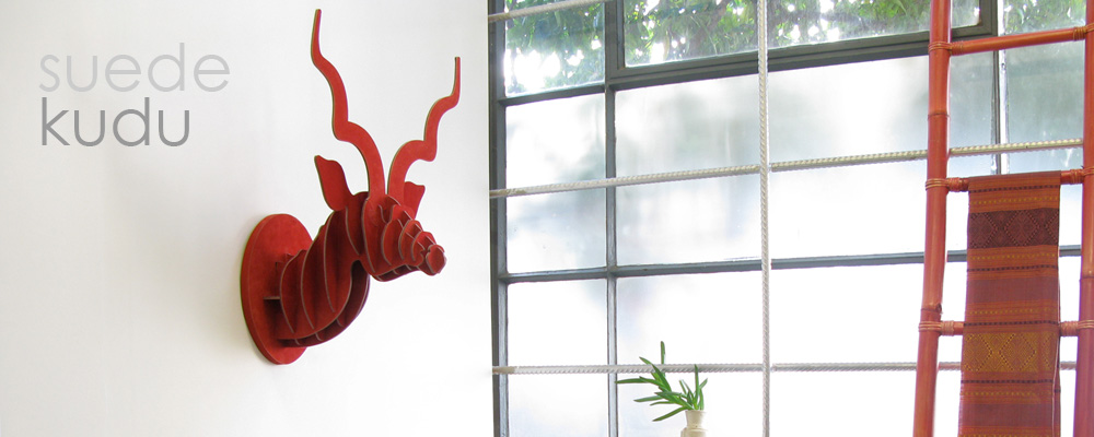 Head on design red suede kudu head decor