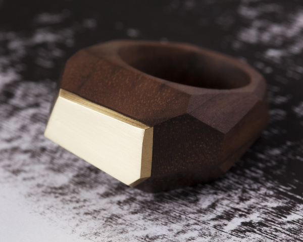 Walnut metal ring