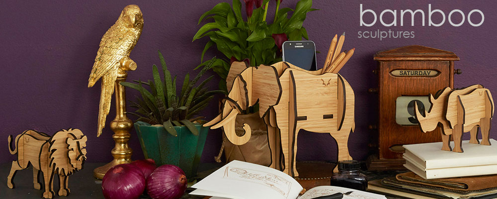 Head on design bamboo elephant stand decor