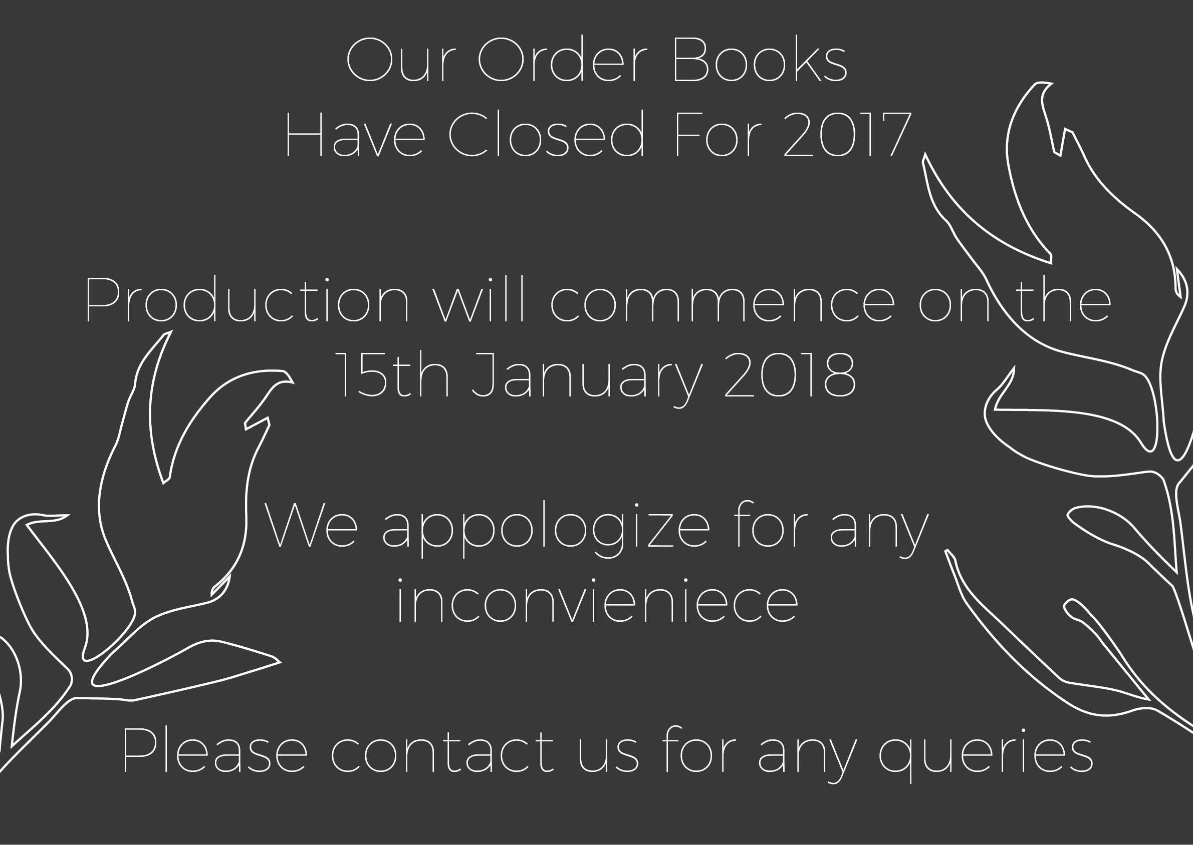 Order books closed 2017 3