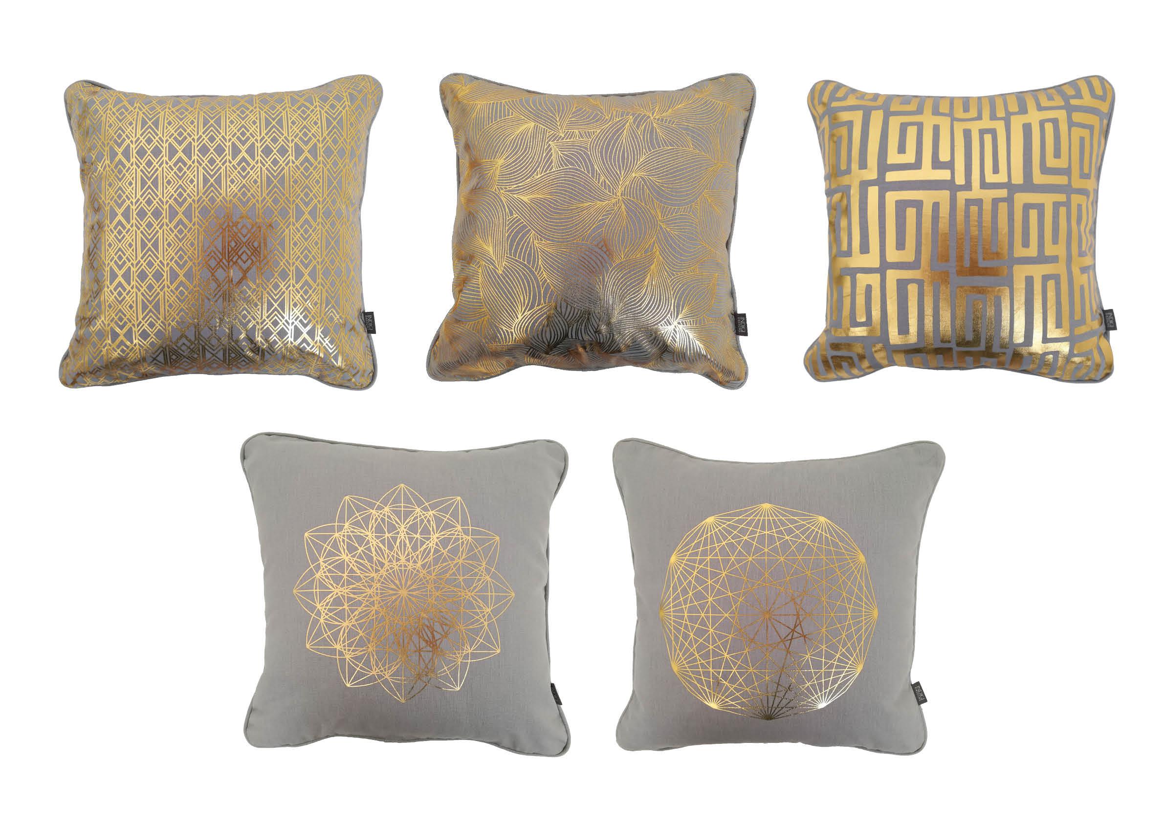 Gold grey hemp cushions