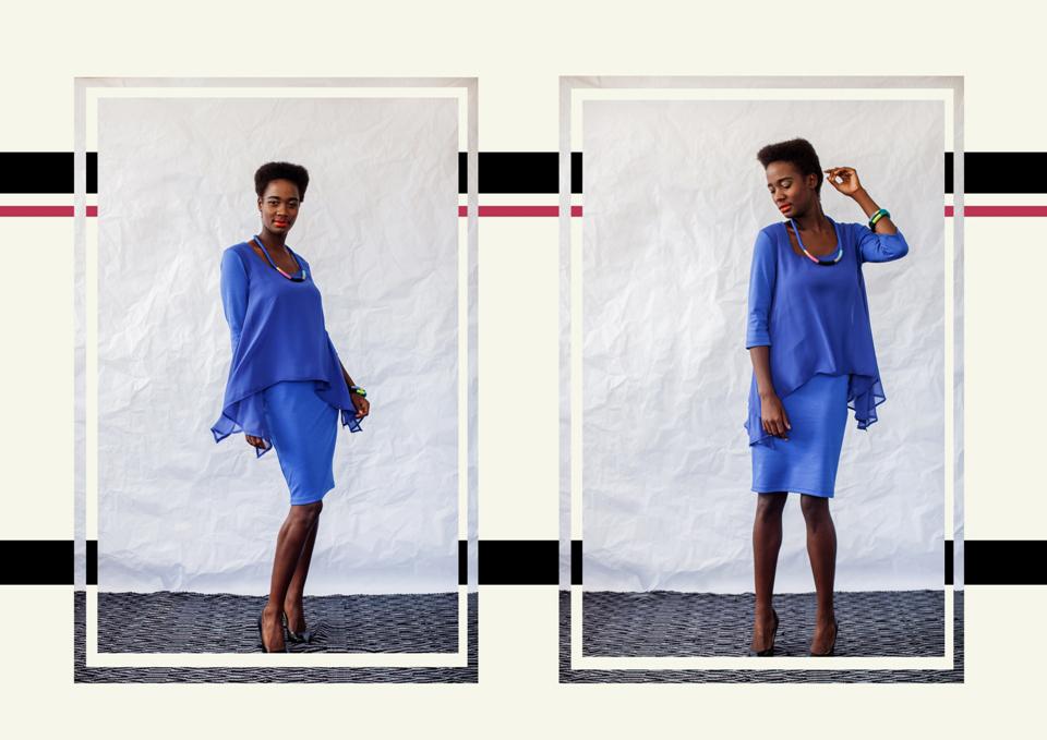 22 chiffon combo dress